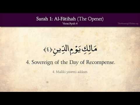 1. Surah Al-Fatihah (The Opener): Arabic and English translation/